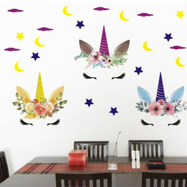 Golden dot unicorn wall sticker living room bedroom wall decoration wall stickers for kids rooms 5