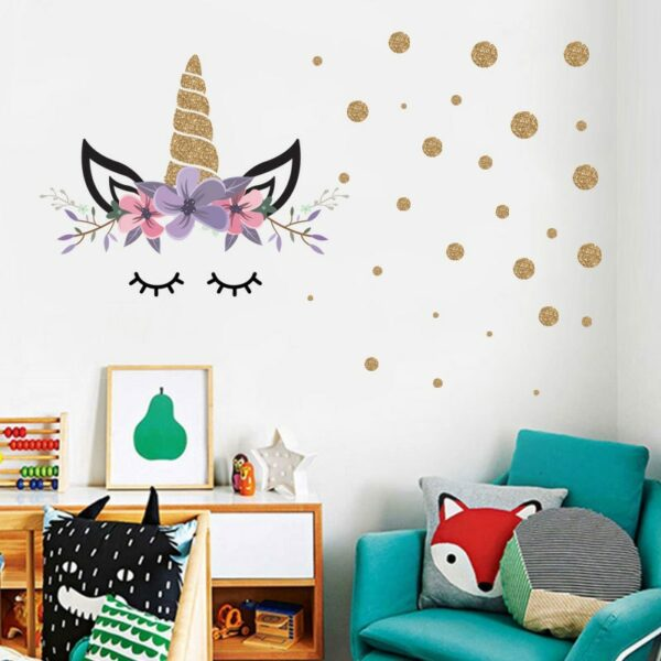 Golden dot unicorn wall sticker living room bedroom wall decoration wall stickers for kids rooms 36