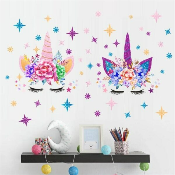 Golden dot unicorn wall sticker living room bedroom wall decoration wall stickers for kids rooms 4