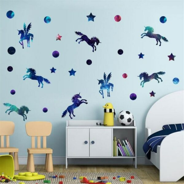Golden dot unicorn wall sticker living room bedroom wall decoration wall stickers for kids rooms 29