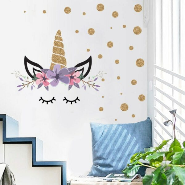 Golden dot unicorn wall sticker living room bedroom wall decoration wall stickers for kids rooms 35