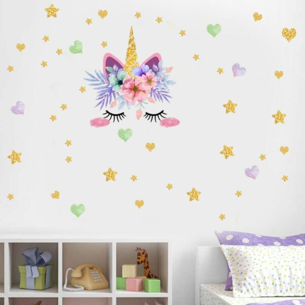 Golden dot unicorn wall sticker living room bedroom wall decoration wall stickers for kids rooms 12