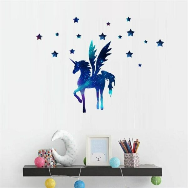 Golden dot unicorn wall sticker living room bedroom wall decoration wall stickers for kids rooms 6