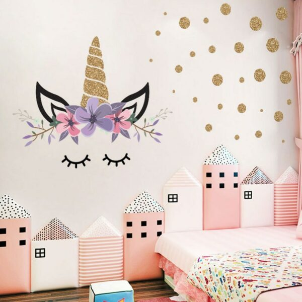 Golden dot unicorn wall sticker living room bedroom wall decoration wall stickers for kids rooms 1