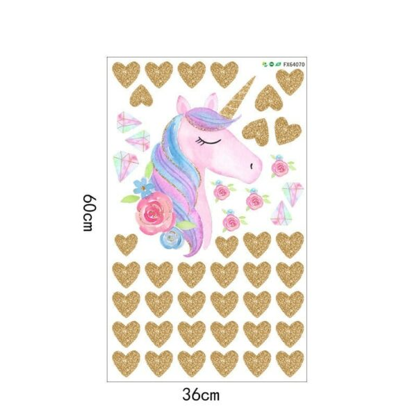 Golden dot unicorn wall sticker living room bedroom wall decoration wall stickers for kids rooms 43
