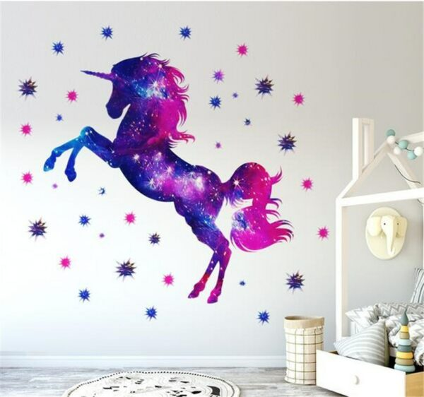 Golden dot unicorn wall sticker living room bedroom wall decoration wall stickers for kids rooms 51
