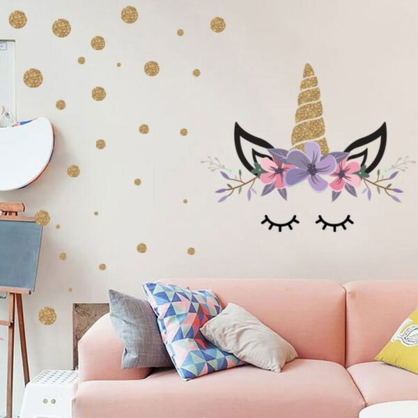 Golden dot unicorn wall sticker living room bedroom wall decoration wall stickers for kids rooms 2