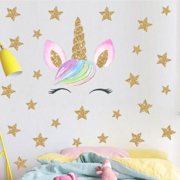 Golden dot unicorn wall sticker living room bedroom wall decoration wall stickers for kids rooms 45