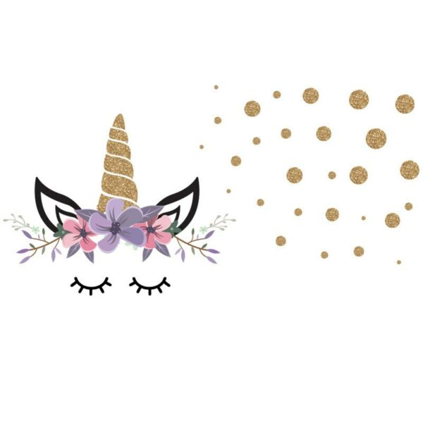 Golden dot unicorn wall sticker living room bedroom wall decoration wall stickers for kids rooms 18