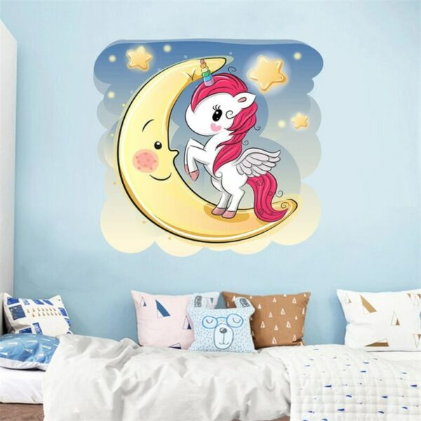 Golden dot unicorn wall sticker living room bedroom wall decoration wall stickers for kids rooms 64