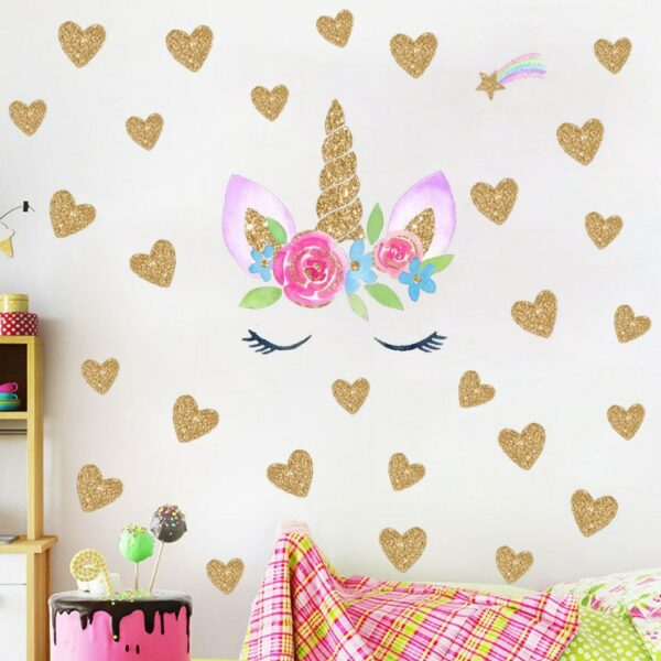 Golden dot unicorn wall sticker living room bedroom wall decoration wall stickers for kids rooms 48