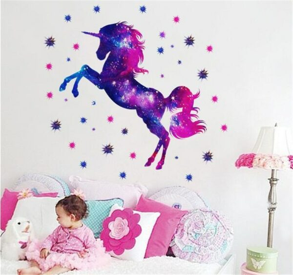 Golden dot unicorn wall sticker living room bedroom wall decoration wall stickers for kids rooms 7