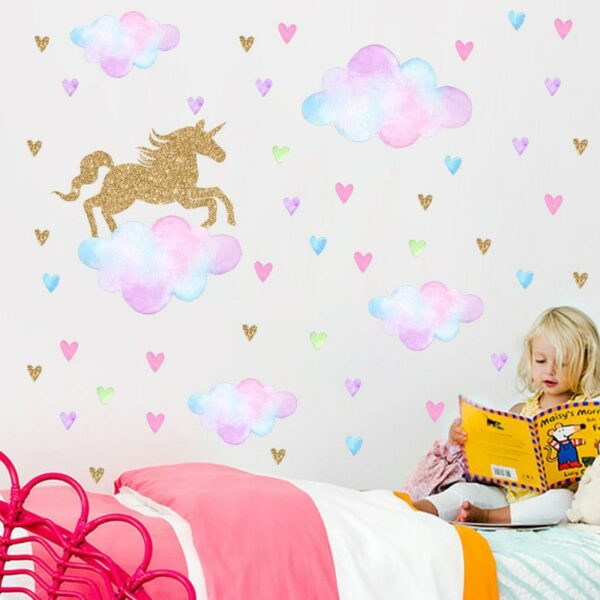 Golden dot unicorn wall sticker living room bedroom wall decoration wall stickers for kids rooms 56