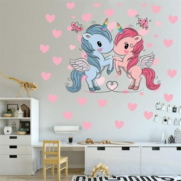 Golden dot unicorn wall sticker living room bedroom wall decoration wall stickers for kids rooms 61