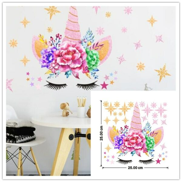 Golden dot unicorn wall sticker living room bedroom wall decoration wall stickers for kids rooms 19