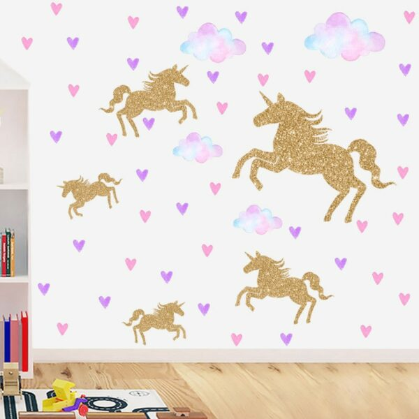 Golden dot unicorn wall sticker living room bedroom wall decoration wall stickers for kids rooms 59