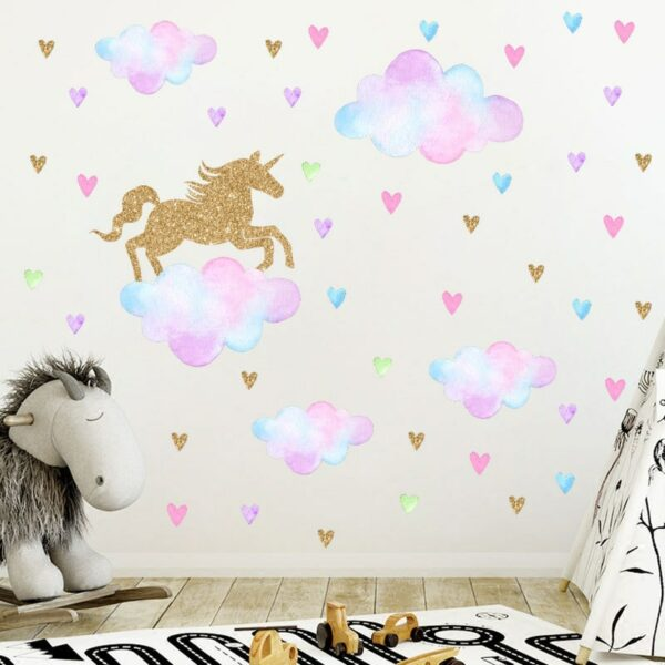Golden dot unicorn wall sticker living room bedroom wall decoration wall stickers for kids rooms 57