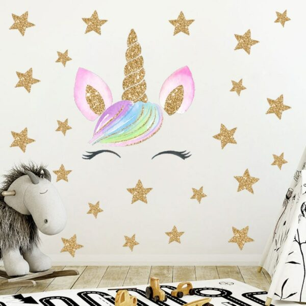 Golden dot unicorn wall sticker living room bedroom wall decoration wall stickers for kids rooms 44