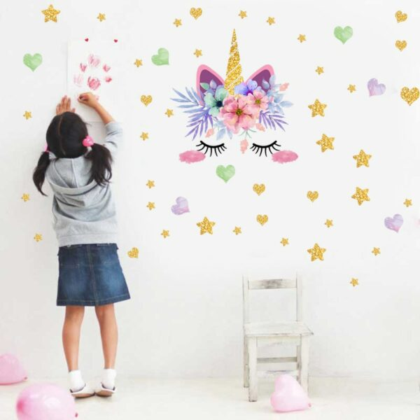 Golden dot unicorn wall sticker living room bedroom wall decoration wall stickers for kids rooms 27
