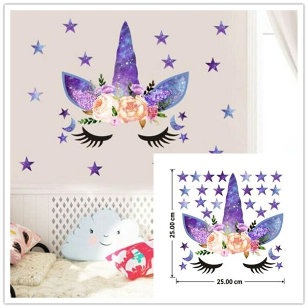 Golden dot unicorn wall sticker living room bedroom wall decoration wall stickers for kids rooms 13