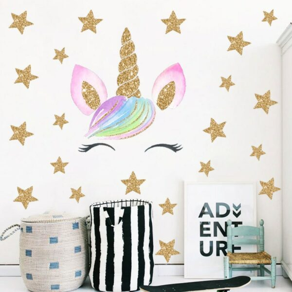 Golden dot unicorn wall sticker living room bedroom wall decoration wall stickers for kids rooms 9