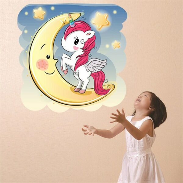 Golden dot unicorn wall sticker living room bedroom wall decoration wall stickers for kids rooms 63