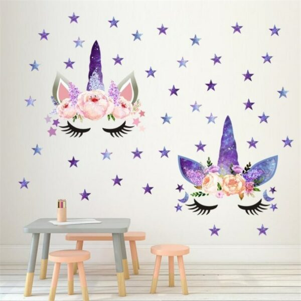 Golden dot unicorn wall sticker living room bedroom wall decoration wall stickers for kids rooms 3