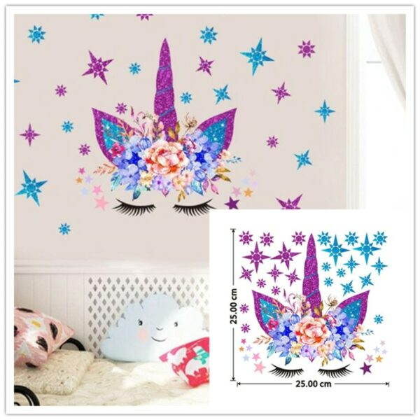 Golden dot unicorn wall sticker living room bedroom wall decoration wall stickers for kids rooms 15