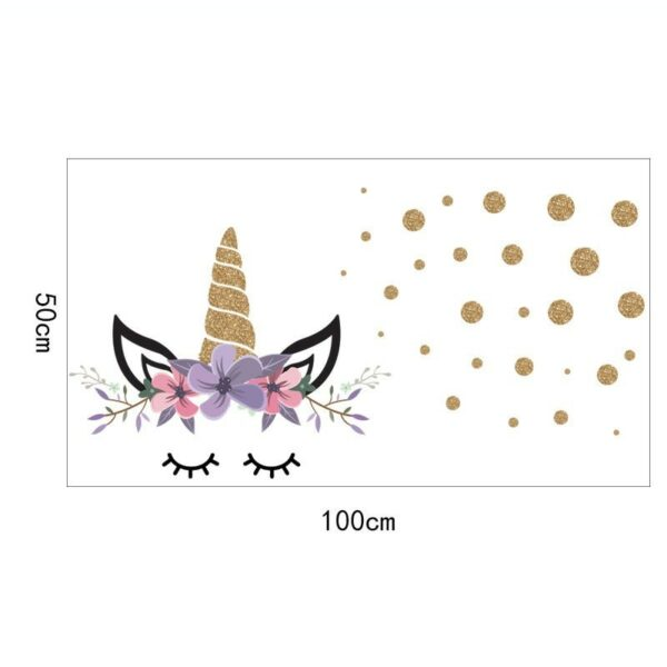 Golden dot unicorn wall sticker living room bedroom wall decoration wall stickers for kids rooms 37