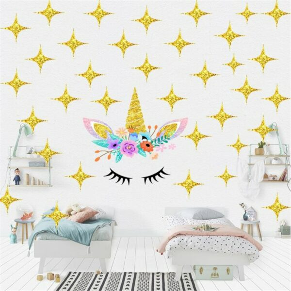 Golden dot unicorn wall sticker living room bedroom wall decoration wall stickers for kids rooms 25