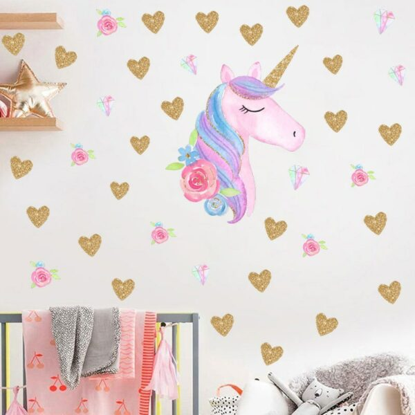Golden dot unicorn wall sticker living room bedroom wall decoration wall stickers for kids rooms 42