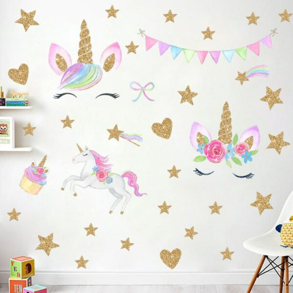 Golden dot unicorn wall sticker living room bedroom wall decoration wall stickers for kids rooms 53