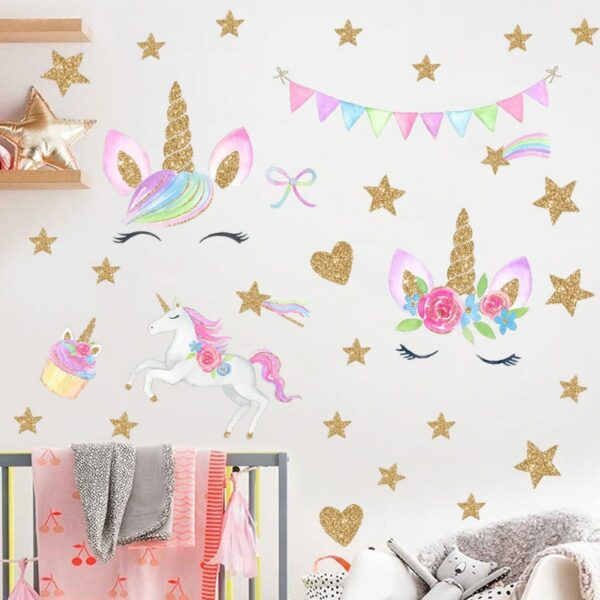 Golden dot unicorn wall sticker living room bedroom wall decoration wall stickers for kids rooms 24