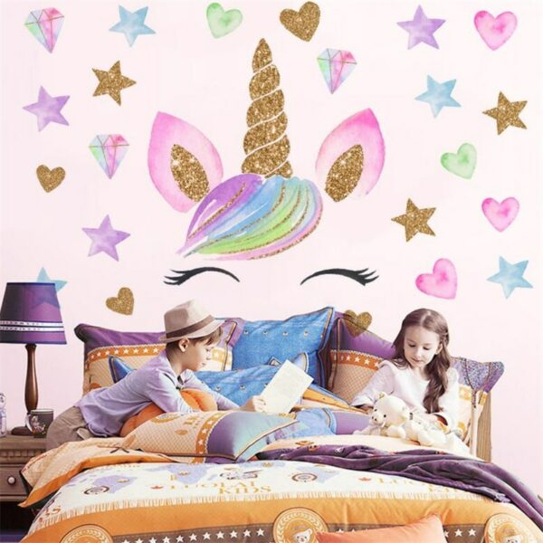 Golden dot unicorn wall sticker living room bedroom wall decoration wall stickers for kids rooms 16