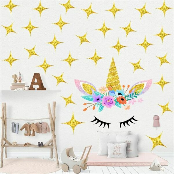 Golden dot unicorn wall sticker living room bedroom wall decoration wall stickers for kids rooms 26