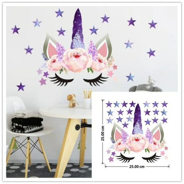 Golden dot unicorn wall sticker living room bedroom wall decoration wall stickers for kids rooms 14