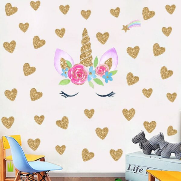 Golden dot unicorn wall sticker living room bedroom wall decoration wall stickers for kids rooms 47