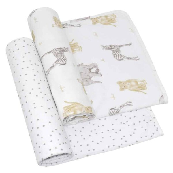 Living Textiles 4015929 2 Pack Jersey Swaddle Wrap Savanna Babies Pitter Patter 0