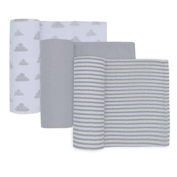 Living Textiles 4015957 3pk Muslin Swaddle Wraps Charcoal Grey 0