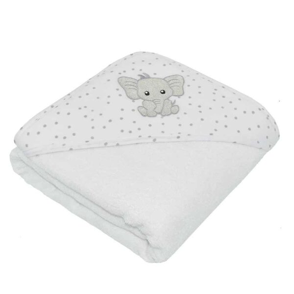 Living Textiles 4208929 Baby Hooded Towel Pitter Patter Elephant 0