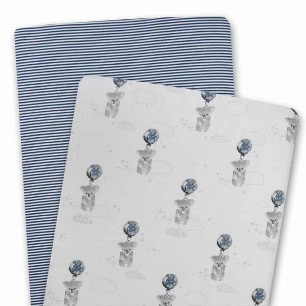 Living Textiles 9108928 2 Pack Jersey Bassinet Fitted Sheets Koala Navy Stripe 0