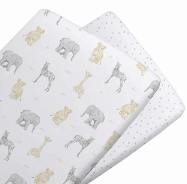 Living Textiles 9108929 2 Pack Jersey Bassinet Fitted Sheets Savanna Babies Pitter Patter 0