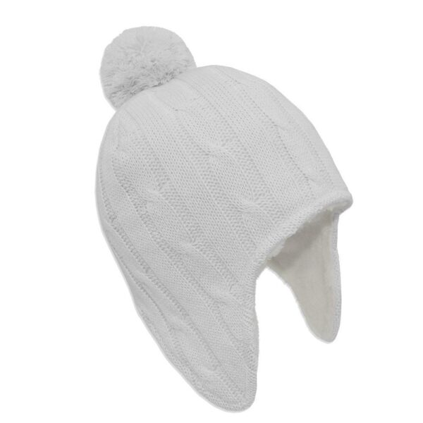 Living Textiles 9500061 Cable Knit Sherpa Pompom Beanie Pure White 0 6mths 0