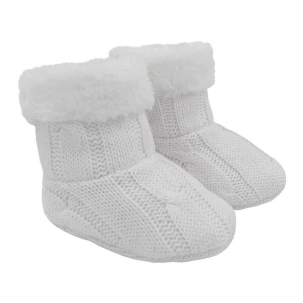 Living Textiles 9500071 Cable Knit Sherpa Booties Pure White 0 6mths 0