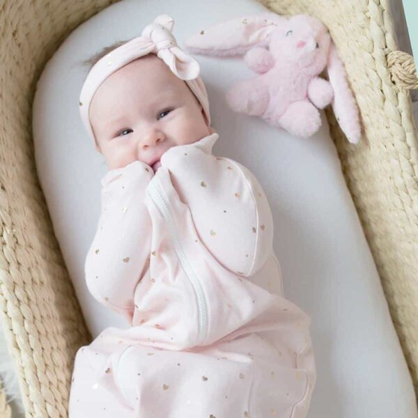 Living Textiles 9502865 Zip Up Smart Swaddle Hearts Pink 0