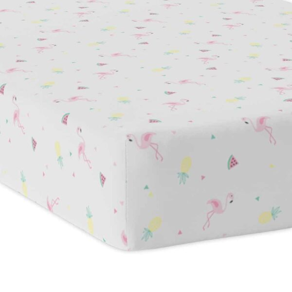 Lolli Living 9110895 Jersey Fitted Sheet Flamingo 0