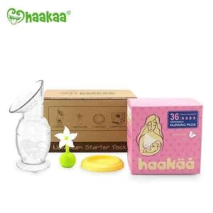 gbhk08 w haakaa new mum gift pack breast feeding pump cap stopper silicone nursing pads set present baby pregnant white 1