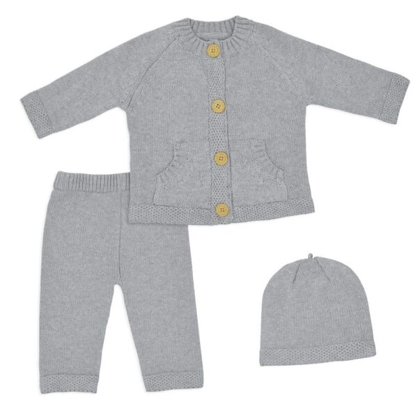 Living Textiles-9500047-3pc Cotton Knit Cardigan- Pant and Beanie Set - Grey Marle-1