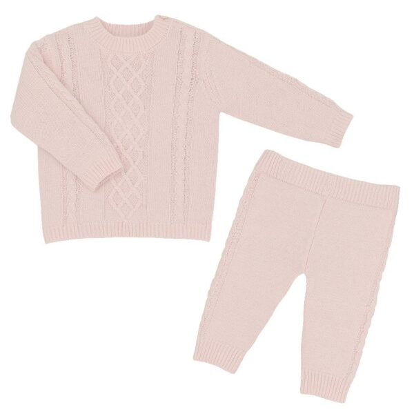 Living Textiles-9500055-2pc Cable Knit Sweater and Pant Set - Blush Pink-1