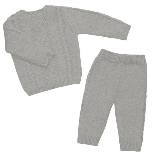 Living Textiles-9500057-2pc Cable Knit Sweater and Pant Set - Grey Marle-1